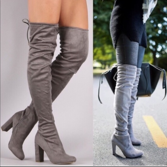 Over The Knee Gray Boots